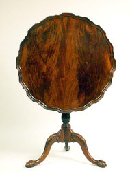 Mahogany Pie Crust Chippendale Style Tilt Top Tea Table