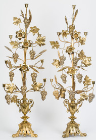 Brass Grape Vine Candlesticks - Priced Each