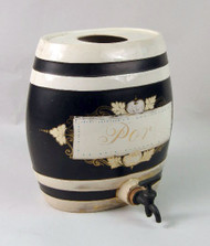 Port Wine Ceramic Barrel Server- 18th Century English Port Barre