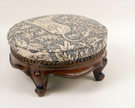Unicorn Upholstered Edwardian Footstool Beautiful Carving