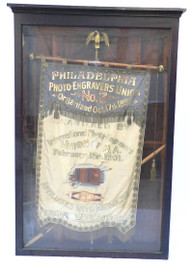 An Enormous Photo Engravers Union Parade Banner in Custom Walnut Case