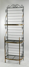 French Wrought Iron and Brass Bakers Rack