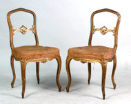 Pair of Louis XV Giltwood Diminutive Side Chairs - Sold as Pair