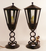Black Iron Lantern Table Lamps - Sold as Pair