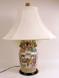 Famille Rose Chinese Lamp with Silk Shade and Jade Finial