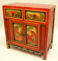 Chinese Parcel Gilt and Paint Decorated 19th Century Cabinet