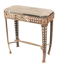Art Deco Metal and Marble Table