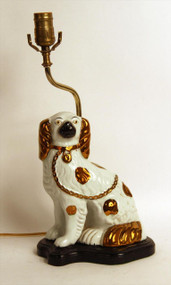 19th Century Staffordshire Spaniel Lamp