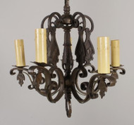 Bronze Arts And Crafts Style 5 Arm Chandelier