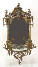 Gilt Bronze Mirrored Sconce with Shelf