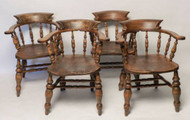 English 19th Century Elm Captain's Chairs- Priced Each- 2 Left
