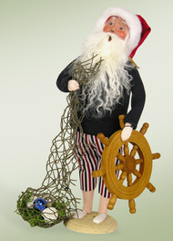 Byers Choice Beach Santa with Ship Wheel - Signed