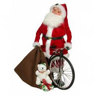 Byers Choice Red Velvet Santa with Bike