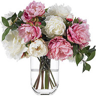 Diane James Mixed Pink and White Peony in Tall Glass Vase