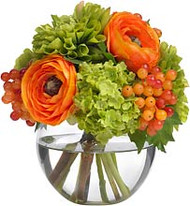 Diane James Ranunculus and Dahlia Bouquet in Glass Bowl