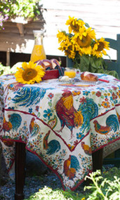 April Cornell Doodle Doo Tablecloth - Ecru 54 x 54