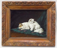 Charming Painting of a Little White Cat and Dog