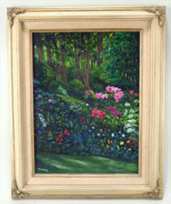 Beautiful Pair of Paintings of Lush Forest with Flowers
