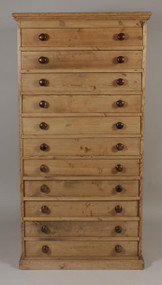 Amazing Tall Antique Pine 11 Drawer Chest