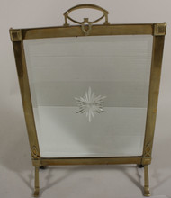 A Parish- Hadley Brass Fire Screen Mirror With Starburst