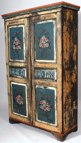 A Paint Decorated Pennsylvania 18th Century Armoire