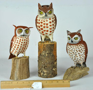 Owls Hand Carved and Painted- Priced Each