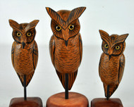 Three Hand Carved and Painted Brown Owls- Priced Each