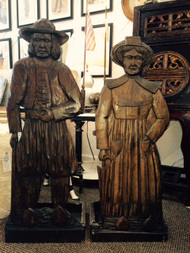 Carved French Pair of Bretagne Figures Fitted as Umbrella Stands- Antique
