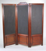 A Carved Mahogany Fabric Inset Three Panel Screen, late 19th Century Victorian