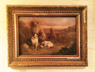 An Antique Petite Oil on Canvas of Dogs in a Haystacked Field