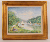 "A Beautiful Impressionist Work, ""Boats on A River"""