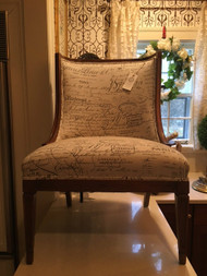 1960's Chair Newly Covered in Scandal Script Fabric