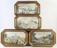 Four 19th Century Handpainted Etchings of European Palaces- Priced Each