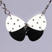 Butterfly Guitar Pendant Black & White Necklace