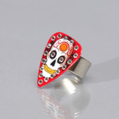Guitar Pick Ring Skull Red