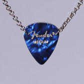 Guitar Pick Pick Pendant Stacked Blue Necklace
