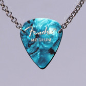 Guitar Pick Pendant Stacked Teal Necklace