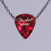 Guitar Pick Pendant Stacked Red Necklace