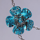 Flower Pendant Teal Necklace