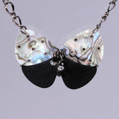 Guitar Pick Butterfly Pendant Close up.