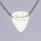 Guitar Pendant Necklace White