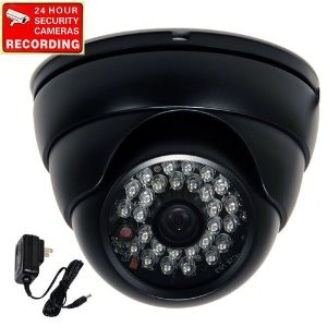 Infrared Security Camera with Power Supply and Warning Decal