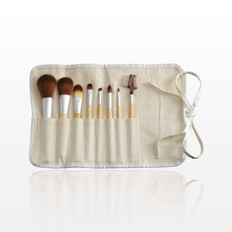 8-Piece Vegan Bamboo Brush Set with Pouch