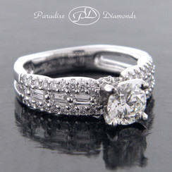 Style PDJ586 Round Center Diamond with Round And Baguettes Accent Diamonds