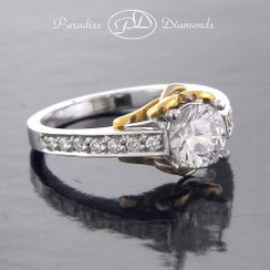 Style PDN514 1.02CT Round Center Diamond Channel Pave Side Stone 0.20CT 18K White And Yellow Gold
