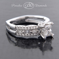 Style PDJ5047 - 1.37cttw. Euro Shank Engagement Ring With a 0.77ct Princess cut Center with Baguettes and Round Diamonds on the ring all in fine 18K White Gold