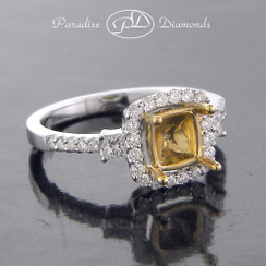Style PDX585 - 0.50ct. Square Cushion Halo Diamond Semi Mount, with 18K Yellow Gold center cup, 18K White Gold