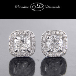 Style PDSPO828 - 1.10ct. Cushion Halo Diamond Earrings, Pave setting, 14K White Gold