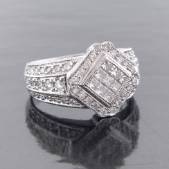 Style PDX100 - 1.60ct. Lady's Diamond Right Hand Ring, Invisible Setting, 18K White Gold