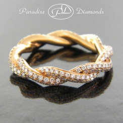 Style PDE197 - 1.15ct. Micro Pave Rope Twisty Lady's Eternity Diamond Band, 18K Rose Gold